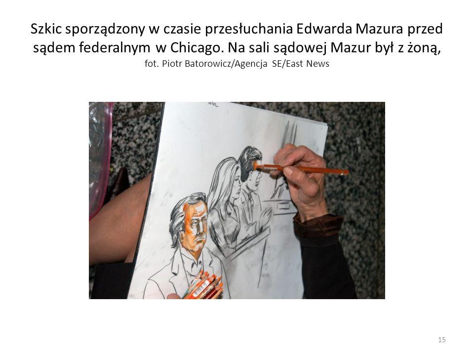 Szkic sporządzony w czasie przesłuchania Edwarda Mazura przed sądem federalnym w Chicago. Na sali sądowej Mazur był z żoną, fot. Piotr Batorowicz/Agen