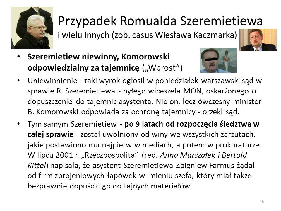 Przypadek Romualda Szeremietiewa i wielu innych (zob. casus Wiesława Kaczmarka) 16 Szeremietiew niewinny, Komorowski odpowiedzialny za tajemnicę (Wpro