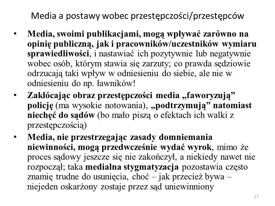 17 Media a postawy wobec przestępczości/przestępców Media, swoimi publikacjami, mogą wpływać zarówno na opinię publiczną, jak i pracowników/uczestnikó