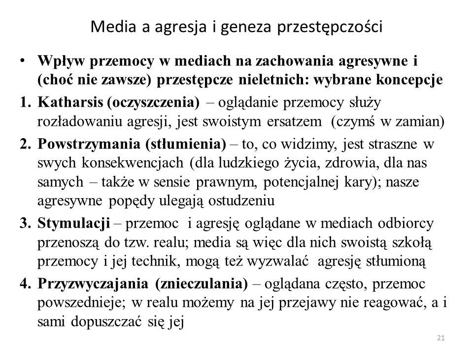 21 Media a agresja i geneza przestępczości Wpływ przemocy w mediach na zachowania agresywne i (choć nie zawsze) przestępcze nieletnich: wybrane koncep