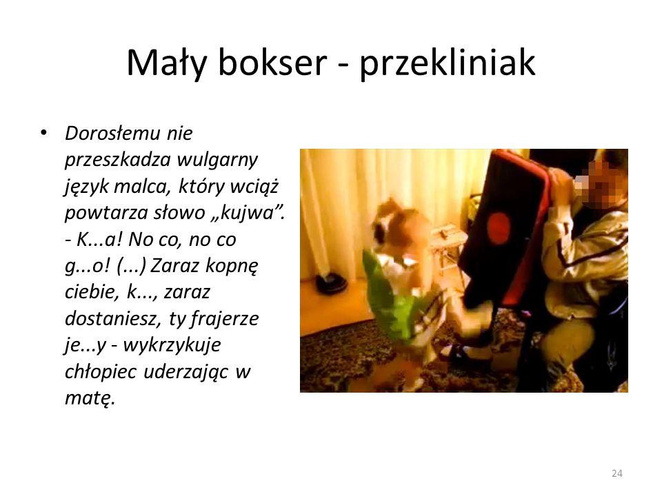 Mały bokser - przekliniak 24 Dorosłemu nie przeszkadza wulgarny język malca, który wciąż powtarza słowo kujwa. - K...a! No co, no co g...o! (...) Zara