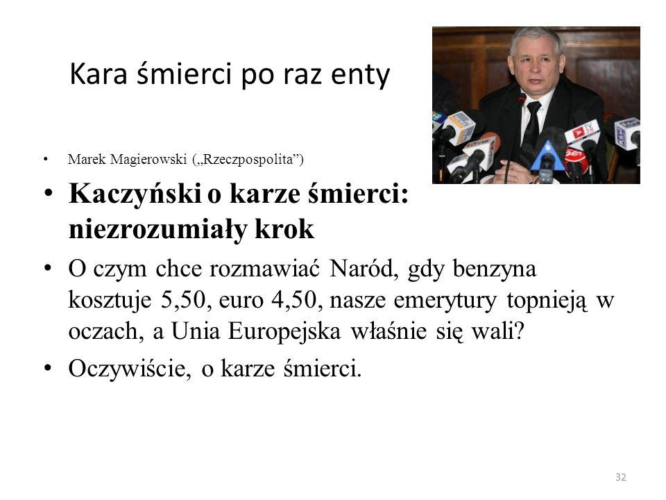 Kara śmierci po raz enty Marek Magierowski (Rzeczpospolita) Kaczyński o karze śmierci: niezrozumiały krok O czym chce rozmawiać Naród, gdy benzyna kos