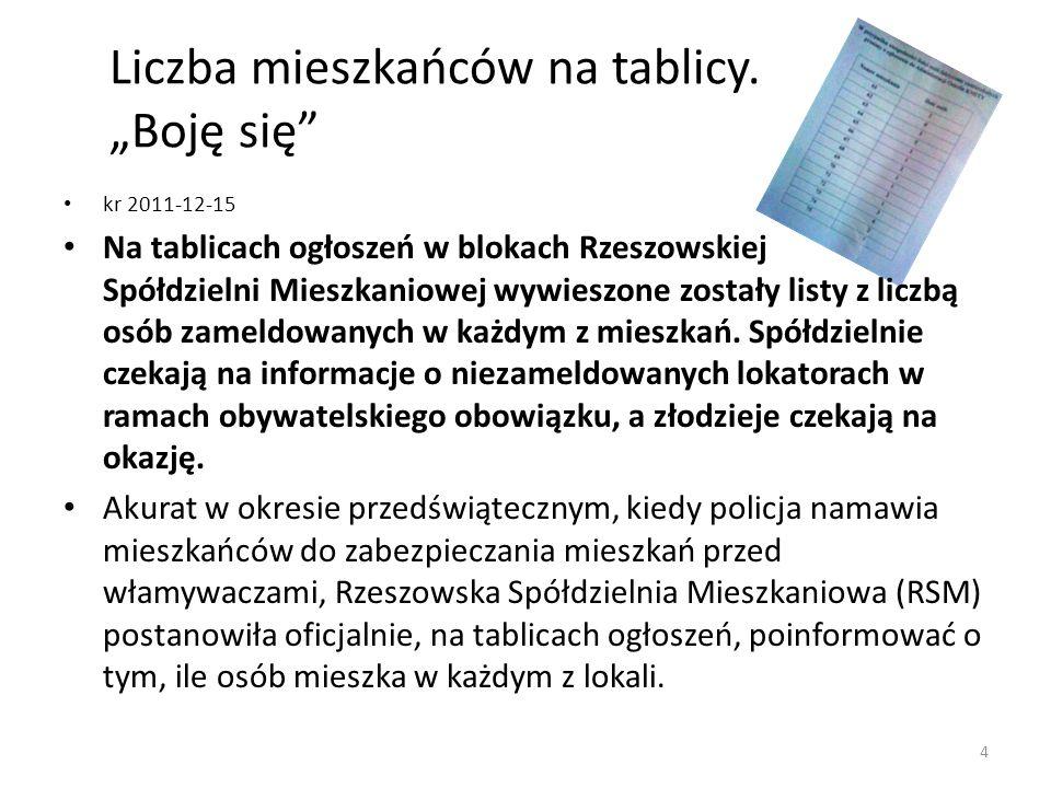 Liczba mieszkańców na tablicy. Boję się kr 2011-12-15 Na tablicach ogłoszeń w blokach Rzeszowskiej Spółdzielni Mieszkaniowej wywieszone zostały listy