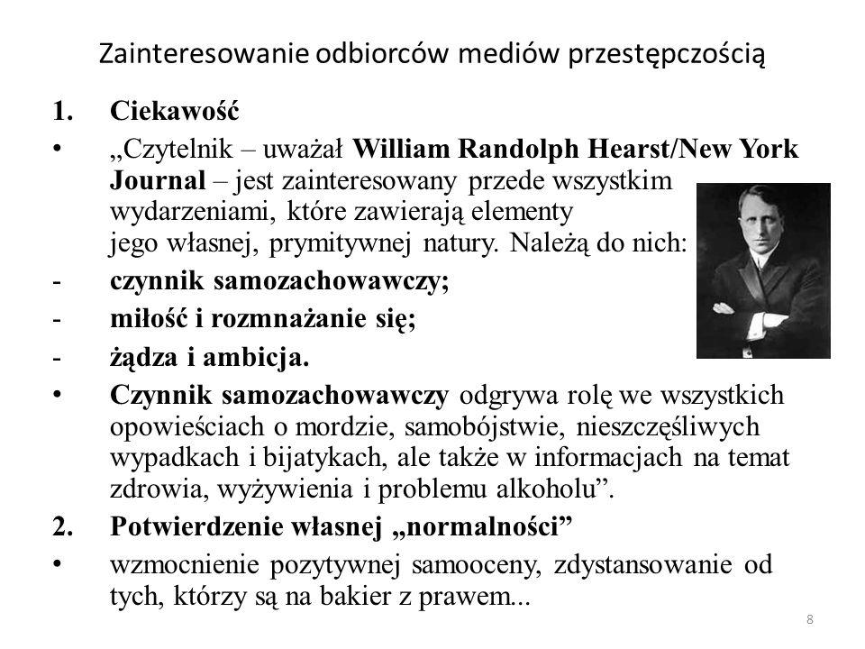 8 Zainteresowanie odbiorców mediów przestępczością 1.Ciekawość Czytelnik – uważał William Randolph Hearst/New York Journal – jest zainteresowany przed