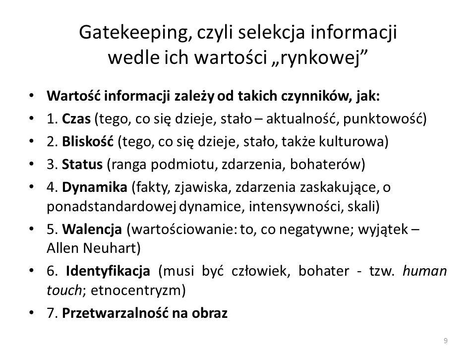 Gatekeeping, czyli selekcja informacji wedle ich wartości rynkowej Wartość informacji zależy od takich czynników, jak: 1. Czas (tego, co się dzieje, s