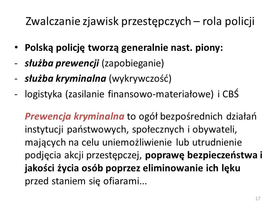 Zapobieganie przestępczości – rola policji Najważniejszą agendą kontroli społecznej reagującą na zachowania dewiacyjne jest policja (reaktywność) Celem policji jest też jednak aktywizacja społeczności lokalnej, aby sama dbała o swoje środowisko (proaktywność) 16