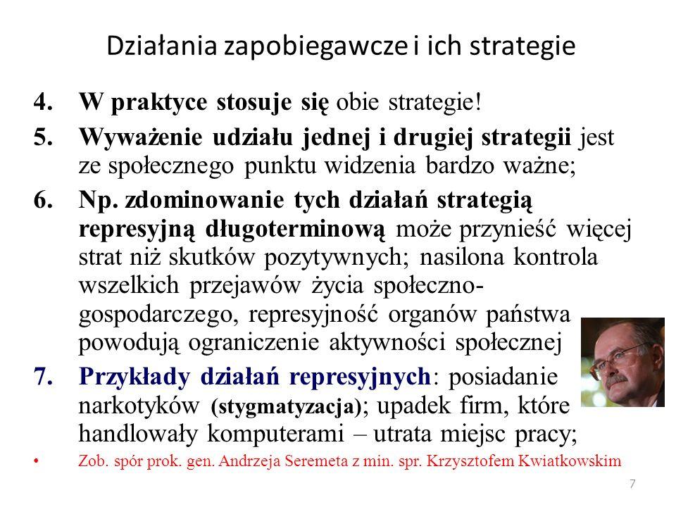Strategia kreatywna 3.Strategia kreatywna, nierepresyjna, obejmuje działania rozwijające zjawiska pożądane – po to, by eliminowały zjawiska niepożądane; (np.