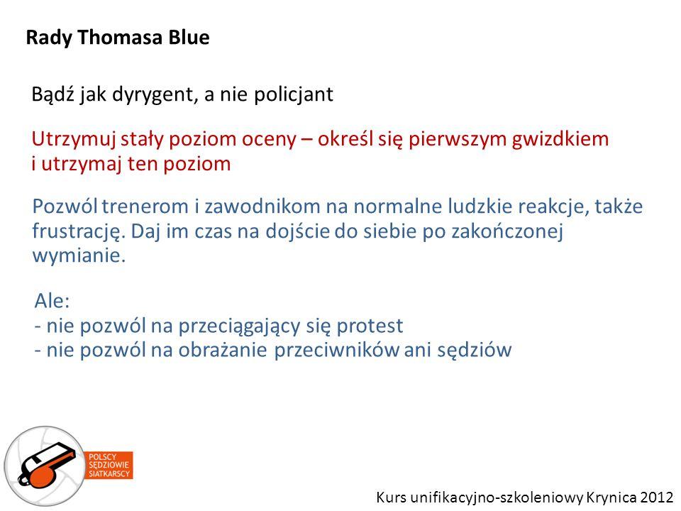 Bądź jak dyrygent, a nie policjant Rady Thomasa Blue Kurs unifikacyjno-szkoleniowy Krynica 2012 Utrzymuj stały poziom oceny – określ się pierwszym gwi
