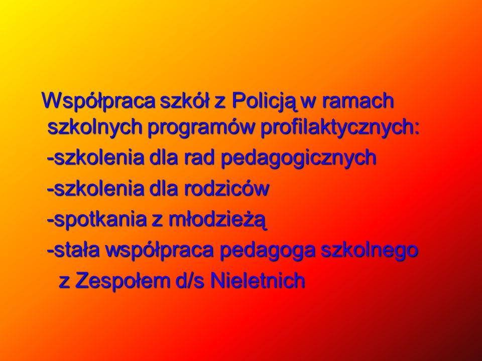Współpraca szkół z Policją w ramach szkolnych programów profilaktycznych: Współpraca szkół z Policją w ramach szkolnych programów profilaktycznych: -s