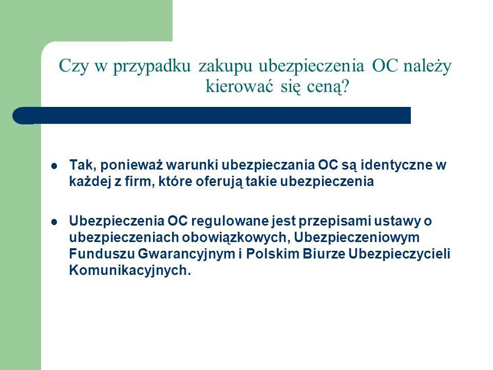 Czy w przypadku zakupu ubezpieczenia OC należy kierować się ceną? Tak, ponieważ warunki ubezpieczania OC są identyczne w każdej z firm, które oferują