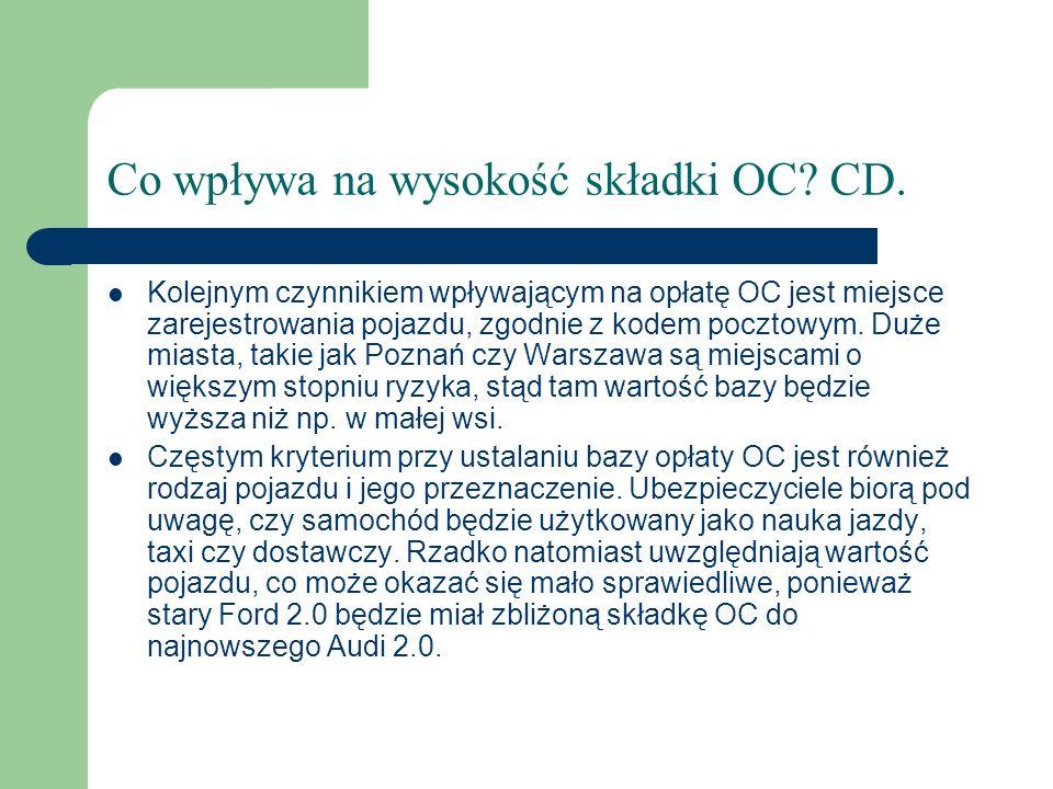 Co wpływa na wysokość składki OC? CD. Kolejnym czynnikiem wpływającym na opłatę OC jest miejsce zarejestrowania pojazdu, zgodnie z kodem pocztowym. Du