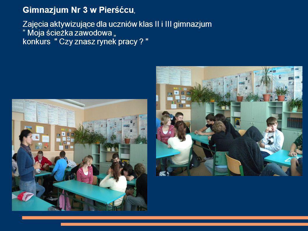 Gimnazjum Nr 3 w Pierśćcu, Zajęcia aktywizujące dla uczniów klas II i III gimnazjum Moja ścieżka zawodowa konkurs