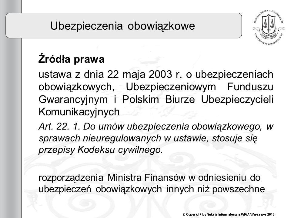 7 Ubezpieczenia obowiązkowe Źródła prawa ustawa z dnia 22 maja 2003 r. o ubezpieczeniach obowiązkowych, Ubezpieczeniowym Funduszu Gwarancyjnym i Polsk