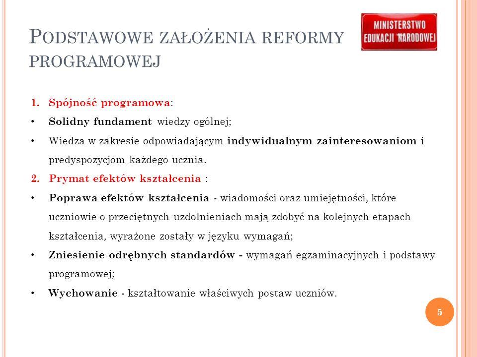 P ODSTAWOWE ZAŁOŻENIA REFORMY PROGRAMOWEJ 1.