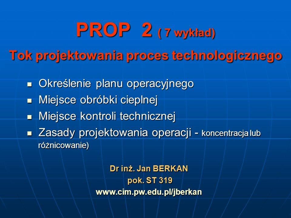 PROP 2 ( 7 wykład) Tok projektowania proces technologicznego Określenie planu operacyjnego Określenie planu operacyjnego Miejsce obróbki cieplnej Miej
