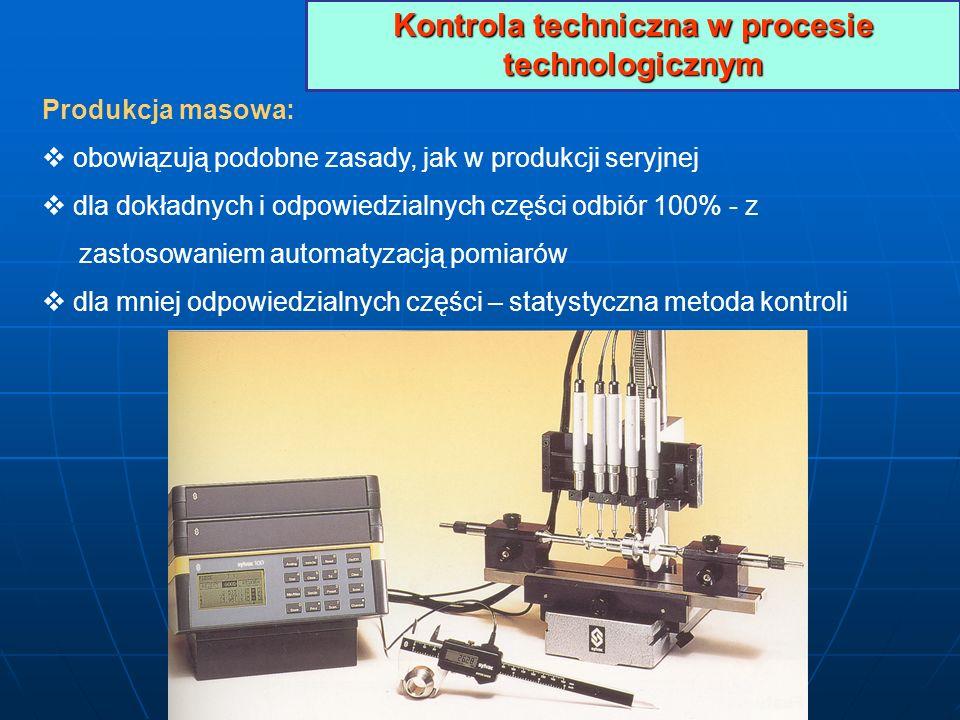 Kontrola techniczna w procesie technologicznym Produkcja masowa: obowiązują podobne zasady, jak w produkcji seryjnej dla dokładnych i odpowiedzialnych