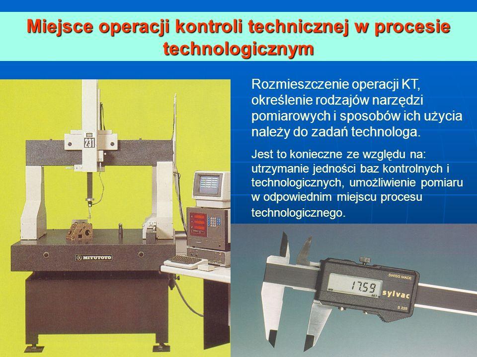 Miejsce operacji kontroli technicznej w procesie technologicznym Rozmieszczenie operacji KT, określenie rodzajów narzędzi pomiarowych i sposobów ich u