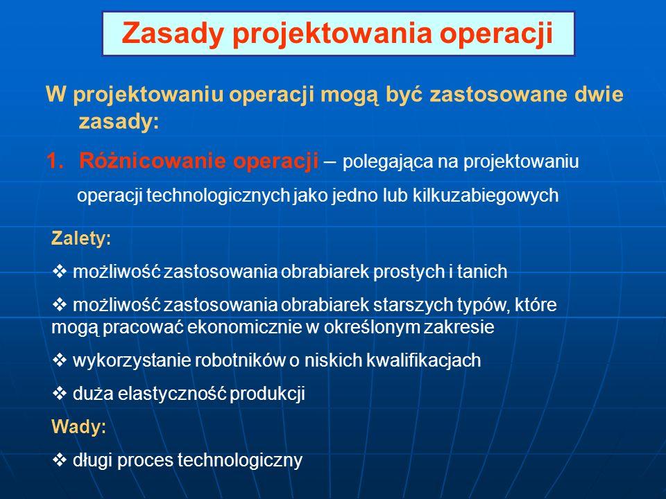 Zasady projektowania operacji W projektowaniu operacji mogą być zastosowane dwie zasady: 1.Różnicowanie operacji – polegająca na projektowaniu operacj