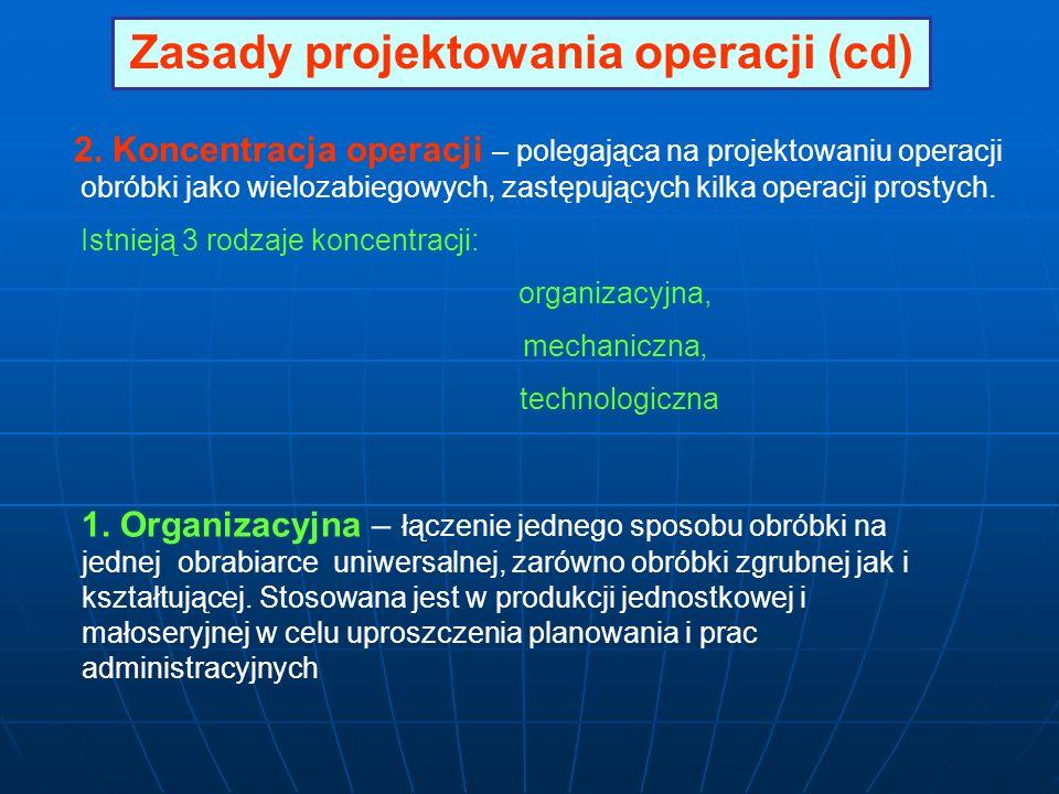 Zasady projektowania operacji (cd) 2. Koncentracja operacji – polegająca na projektowaniu operacji obróbki jako wielozabiegowych, zastępujących kilka