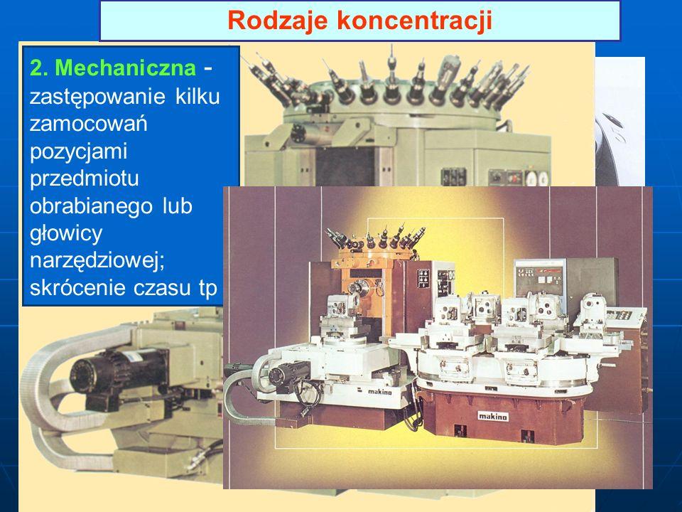 Rodzaje koncentracji 2. Mechaniczna - zastępowanie kilku zamocowań pozycjami przedmiotu obrabianego lub głowicy narzędziowej; skrócenie czasu tp
