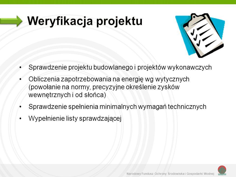 Narodowy Fundusz Ochrony Środowiska i Gospodarki Wodnej Obliczenie zapotrzebowania na energię wg wytycznych Sprawdzenie aprobat technicznych materiałów i certyfikatów na urządzenia Sprawdzenie protokołów regulacji instalacji wentylacyjnej i grzewczej Sprawdzenie protokołu z testu szczelności Sprawdzenie dokumentacji fotograficznej Sprawdzenie oświadczenia o zgodności z projektem i wytycznymi Wypełnienie listy sprawdzającej