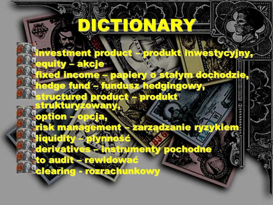 DICTIONARY guarantee policy – polisa gwarancyjna foreign investment fund – zagraniczny fundusz inwestycyjny, assurance – ubezpieczenie, głównie na życ