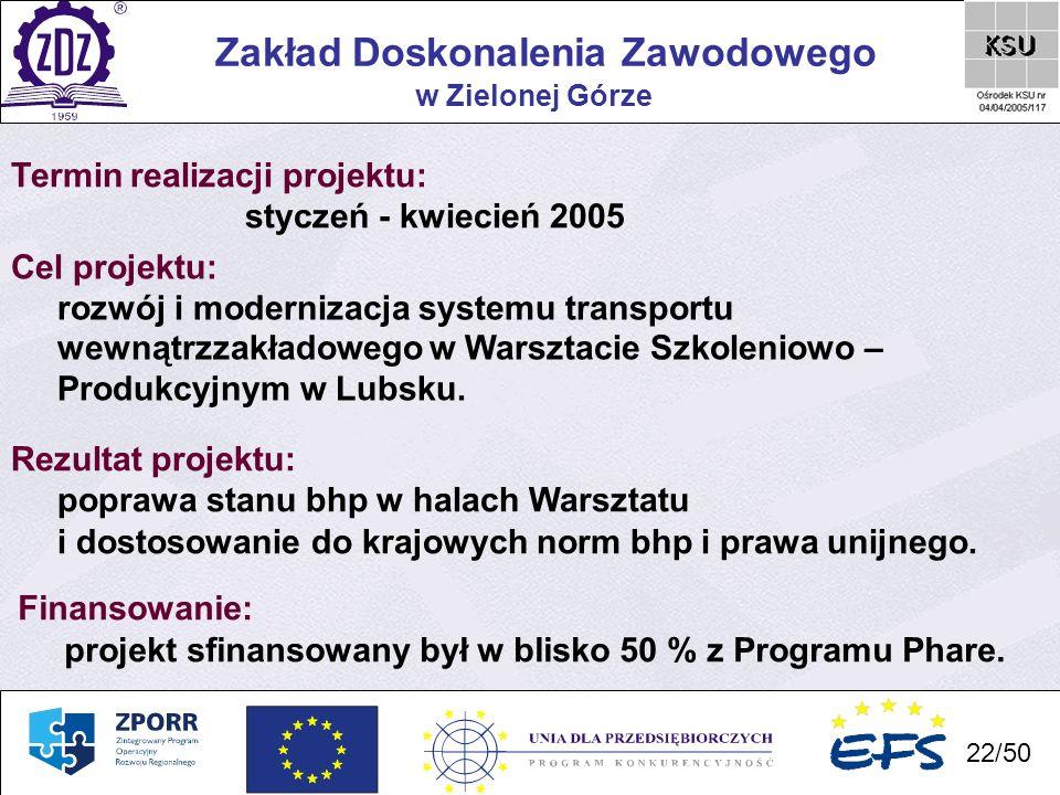 22 Zakład Doskonalenia Zawodowego 22/50 w Zielonej Górze Termin realizacji projektu: styczeń - kwiecień 2005 Cel projektu: rozwój i modernizacja syste
