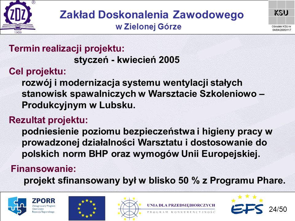 24 Zakład Doskonalenia Zawodowego 24/50 w Zielonej Górze Termin realizacji projektu: styczeń - kwiecień 2005 Cel projektu: rozwój i modernizacja syste
