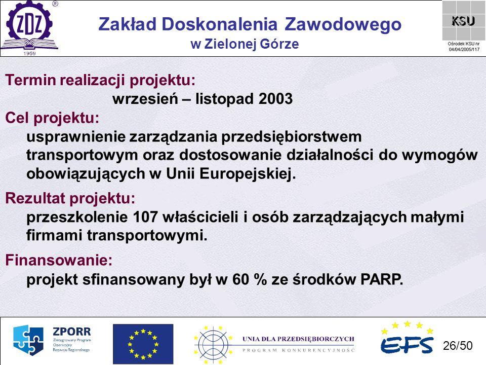 26 Zakład Doskonalenia Zawodowego 26/50 w Zielonej Górze Termin realizacji projektu: wrzesień – listopad 2003 Cel projektu: usprawnienie zarządzania p