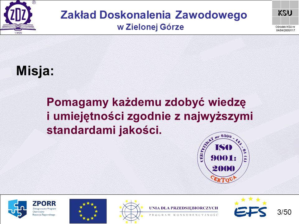 34 Zakład Doskonalenia Zawodowego 34/50 w Zielonej Górze Termin realizacji projektu: styczeń 2005 – grudzień 2006 Cel projektu: doskonalenie umiejętności informatycznych poprzez uczestnictwo w szkoleniu pozwalającym uzyskać Europejski Certyfikat Umiejętności Komputerowych (ECDL), nauka języków (angielskiego i niemieckiego) w zakresie pozwalającym na swobodne komunikowanie się zarówno w mowie, jak i przy wykorzystaniu technologii informatycznych (internet, poczta elektroniczna) oraz, dla osób mających bezpośredni kontakt z interesantami, doskonalenie profesjonalnej obsługi klienta.