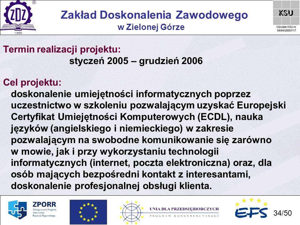 34 Zakład Doskonalenia Zawodowego 34/50 w Zielonej Górze Termin realizacji projektu: styczeń 2005 – grudzień 2006 Cel projektu: doskonalenie umiejętno