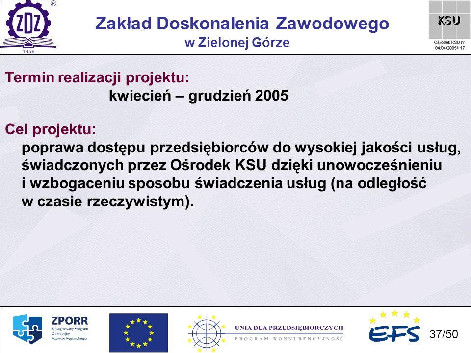 37 Zakład Doskonalenia Zawodowego 37/50 w Zielonej Górze Termin realizacji projektu: kwiecień – grudzień 2005 Cel projektu: poprawa dostępu przedsiębi
