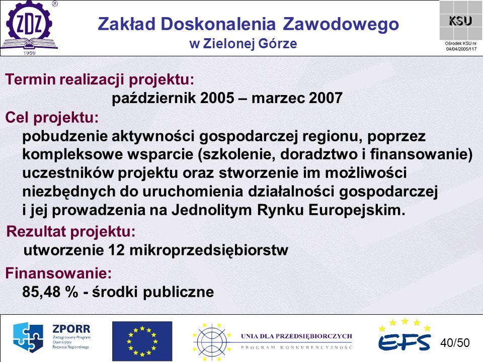 40 Zakład Doskonalenia Zawodowego 40/50 w Zielonej Górze Termin realizacji projektu: październik 2005 – marzec 2007 Cel projektu: pobudzenie aktywnośc
