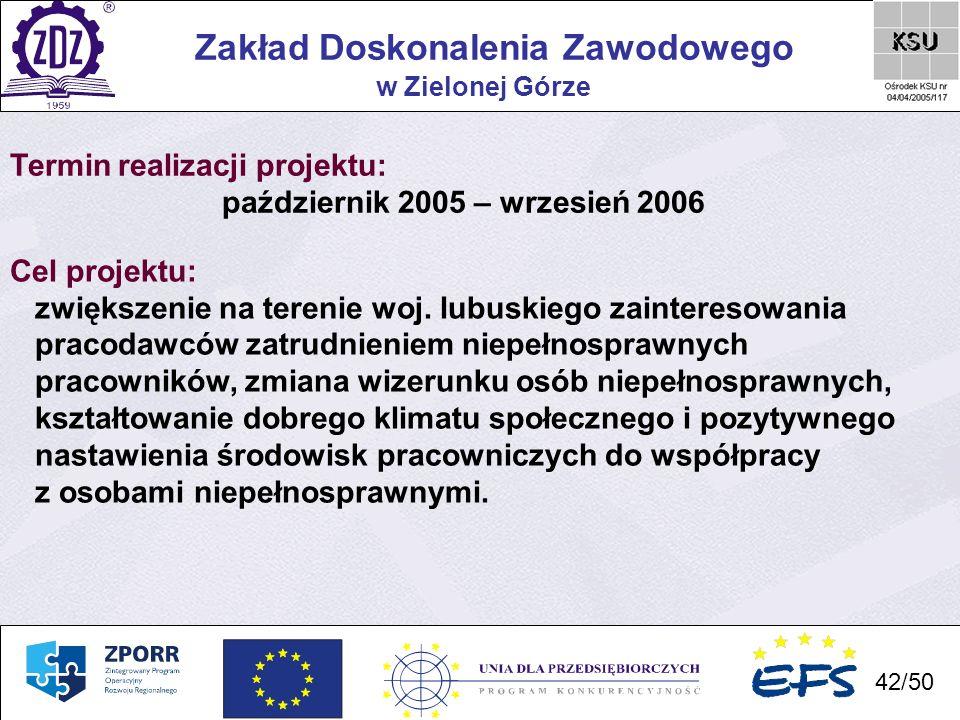 42 Zakład Doskonalenia Zawodowego 42/50 w Zielonej Górze Termin realizacji projektu: październik 2005 – wrzesień 2006 Cel projektu: zwiększenie na ter