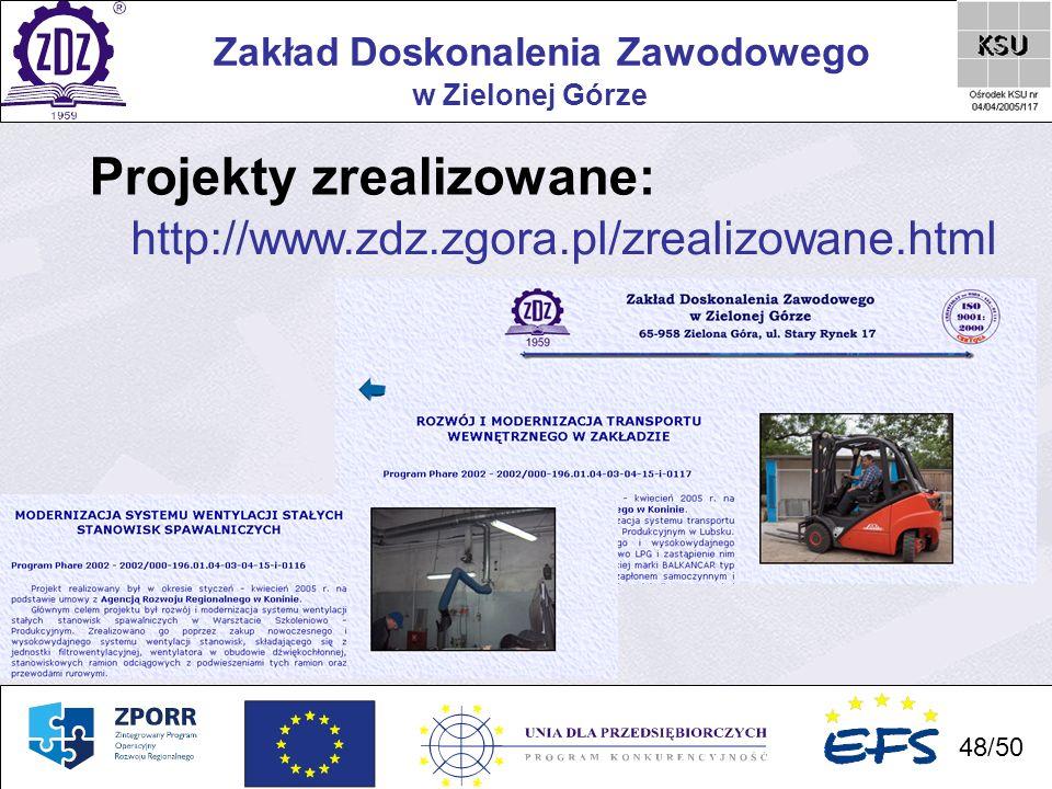 48 Zakład Doskonalenia Zawodowego 48/50 w Zielonej Górze Projekty zrealizowane: http://www.zdz.zgora.pl/zrealizowane.html
