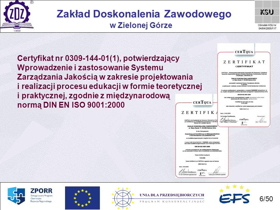 7 Zakład Doskonalenia Zawodowego 7/50 w Zielonej Górze Certyfikat Polskiej Sieci Kształcenia Modułowego dotyczący Akredytacji Instytucji Szkoleniowej w zakresie projektowania, realizacji oraz ewaluacji modułowych programów kształcenia i szkolenia zawodowego.