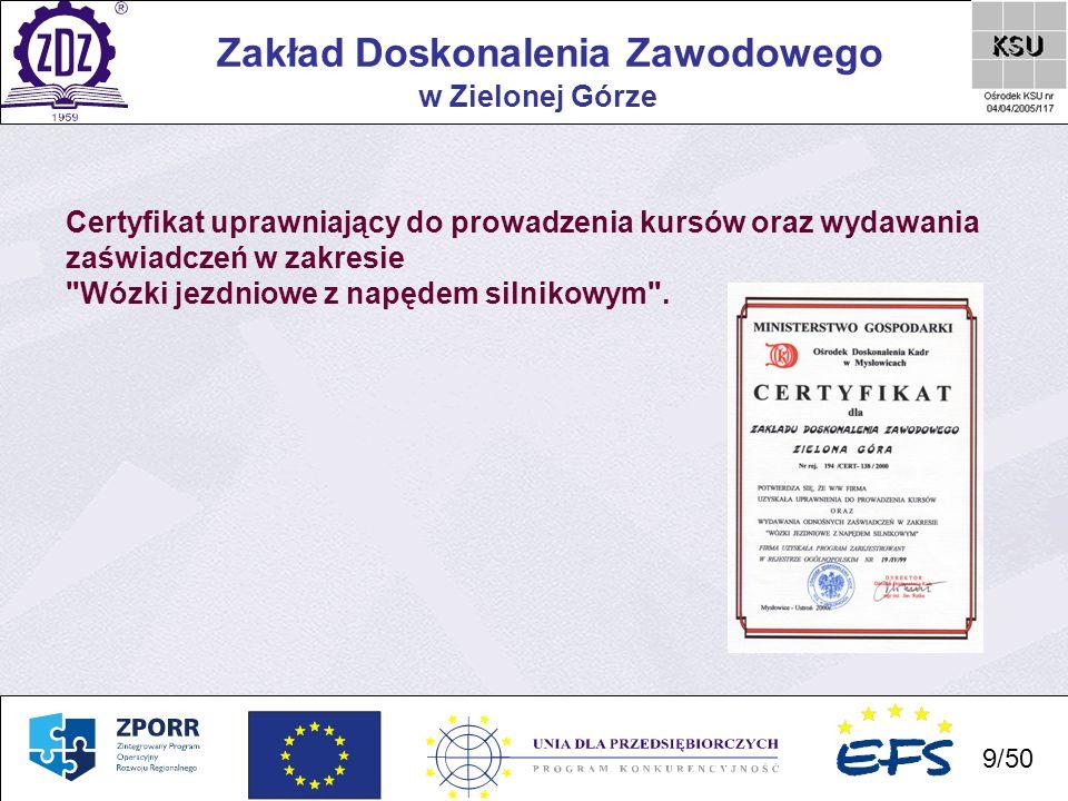 10 Zakład Doskonalenia Zawodowego 10/50 w Zielonej Górze Certyfikat uprawniający do prowadzenia szkoleń w zakresie bezpieczeństwa i higieny pracy.