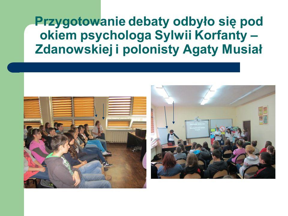 Przygotowanie debaty odbyło się pod okiem psychologa Sylwii Korfanty – Zdanowskiej i polonisty Agaty Musiał