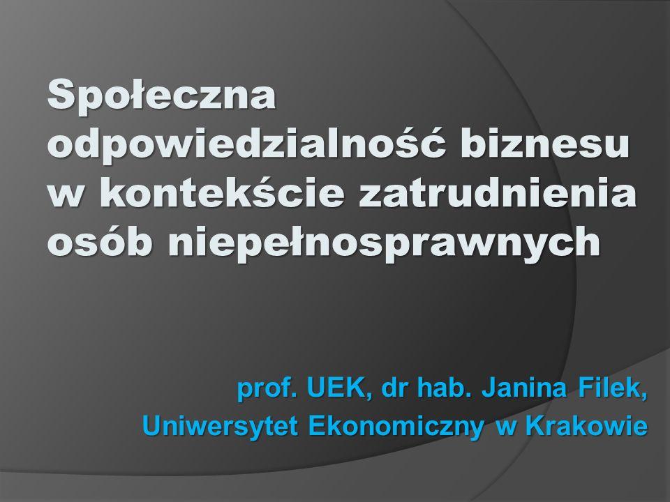 prof. UEK, dr hab. Janina Filek, Uniwersytet Ekonomiczny w Krakowie Społeczna odpowiedzialność biznesu w kontekście zatrudnienia osób niepełnosprawnyc