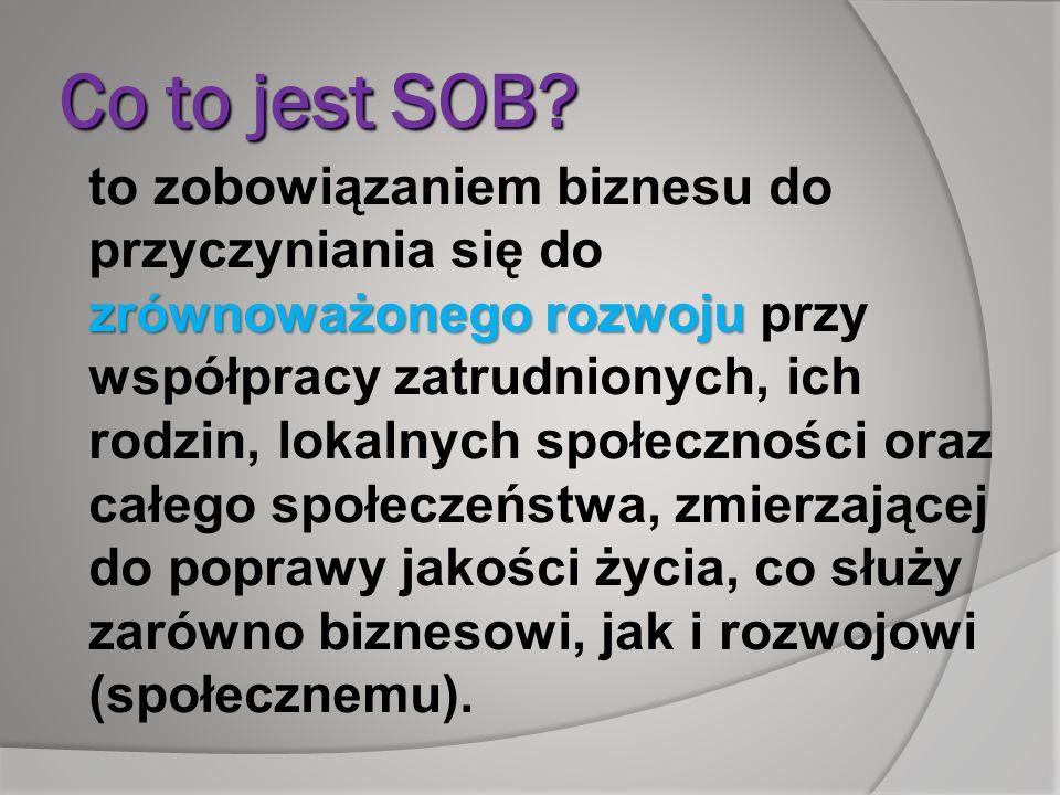 Co to jest SOB? zrównoważonego rozwoju to zobowiązaniem biznesu do przyczyniania się do zrównoważonego rozwoju przy współpracy zatrudnionych, ich rodz