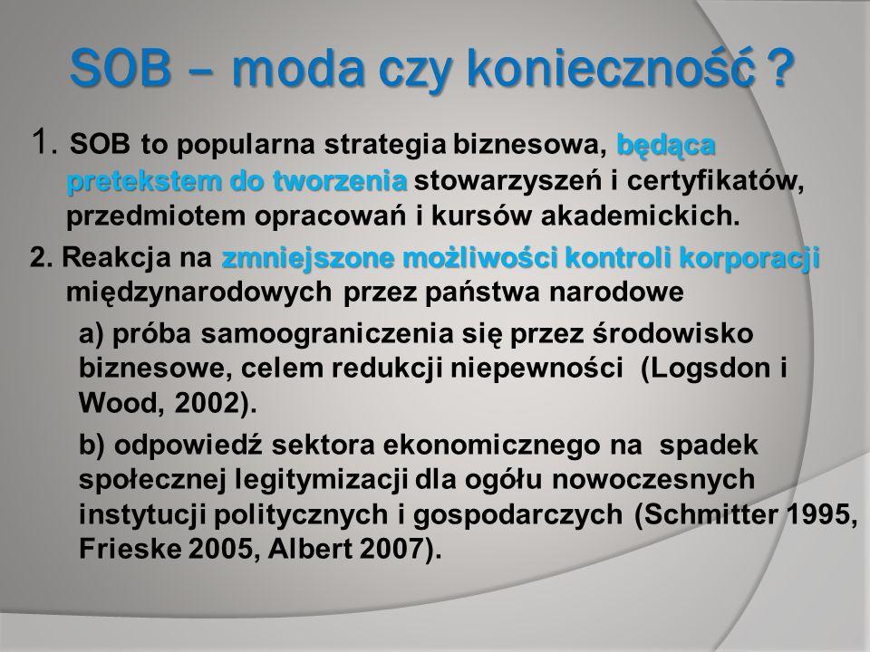 SOB – moda czy konieczność ? będąca pretekstem do tworzenia 1. SOB to popularna strategia biznesowa, będąca pretekstem do tworzenia stowarzyszeń i cer