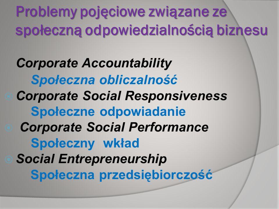Problemy pojęciowe związane ze społeczną odpowiedzialnością biznesu Corporate Accountability Społeczna obliczalność Corporate Social Responsiveness Sp