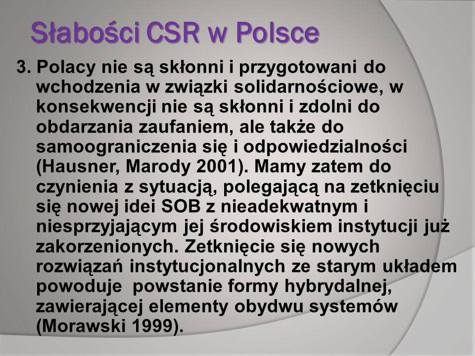 Słabości CSR w Polsce 3. Polacy nie są skłonni i przygotowani do wchodzenia w związki solidarnościowe, w konsekwencji nie są skłonni i zdolni do obdar
