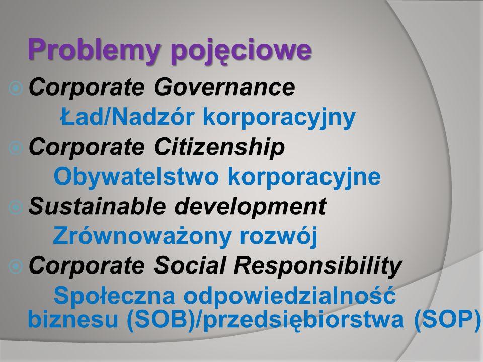 Problemy pojęciowe Corporate Governance Ład/Nadzór korporacyjny Corporate Citizenship Obywatelstwo korporacyjne Sustainable development Zrównoważony r