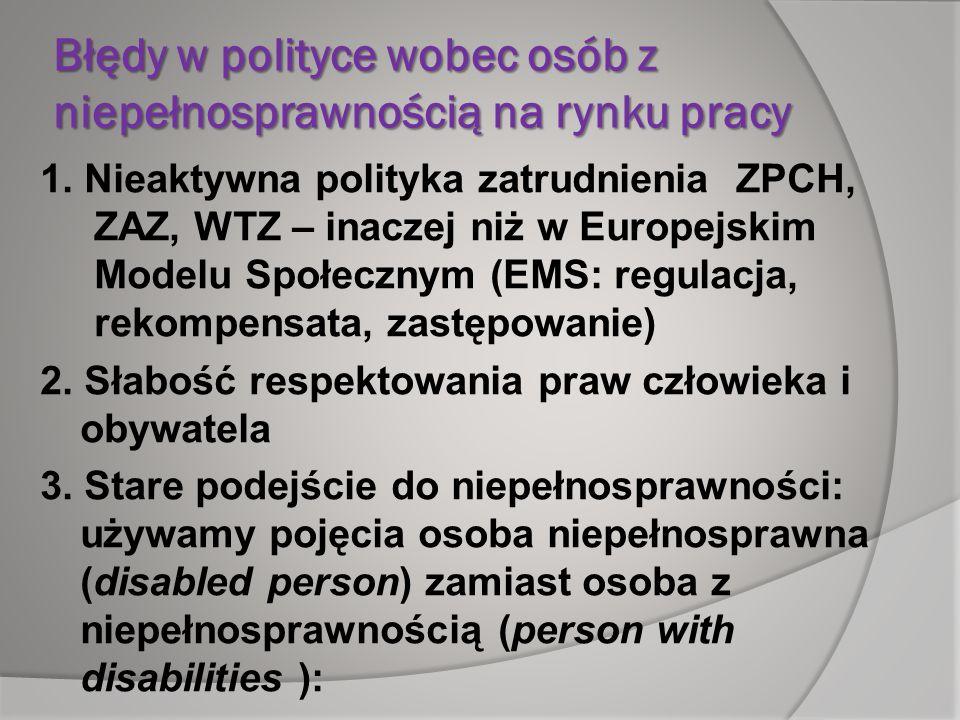 Błędy w polityce wobec osób z niepełnosprawnością na rynku pracy 1. Nieaktywna polityka zatrudnienia ZPCH, ZAZ, WTZ – inaczej niż w Europejskim Modelu