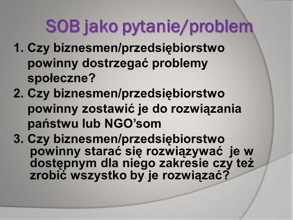 SOB jako pytanie/problem 1. Czy biznesmen/przedsiębiorstwo powinny dostrzegać problemy społeczne? 2. Czy biznesmen/przedsiębiorstwo powinny zostawić j