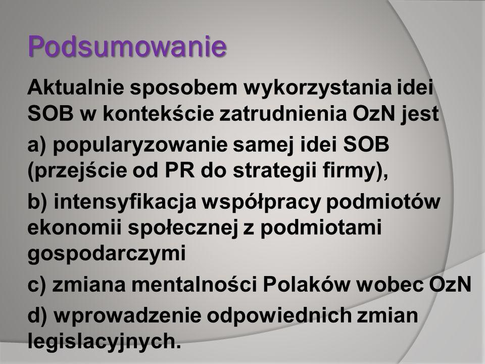 Podsumowanie Aktualnie sposobem wykorzystania idei SOB w kontekście zatrudnienia OzN jest a) popularyzowanie samej idei SOB (przejście od PR do strate