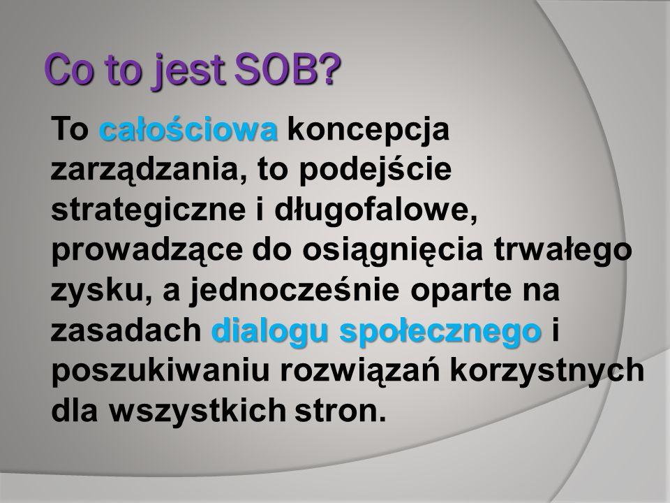 Co to jest SOB? całościowa dialogu społecznego To całościowa koncepcja zarządzania, to podejście strategiczne i długofalowe, prowadzące do osiągnięcia