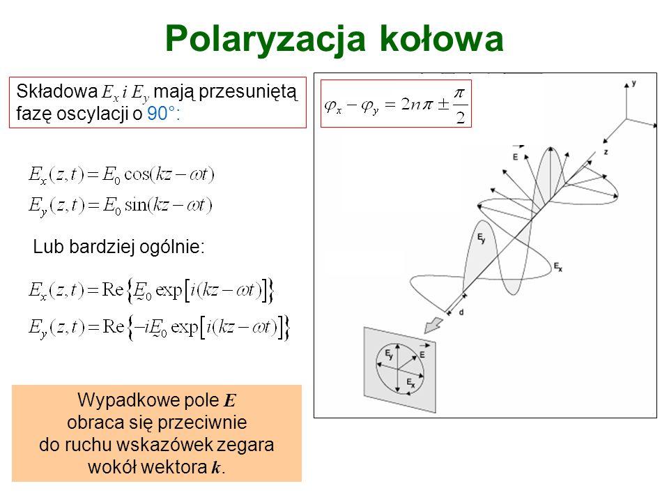 Polaryzacja kołowa prawoskrętna i lewoskrętna Składowa E x i E y mają przesuniętą fazę oscylacji o -90°.