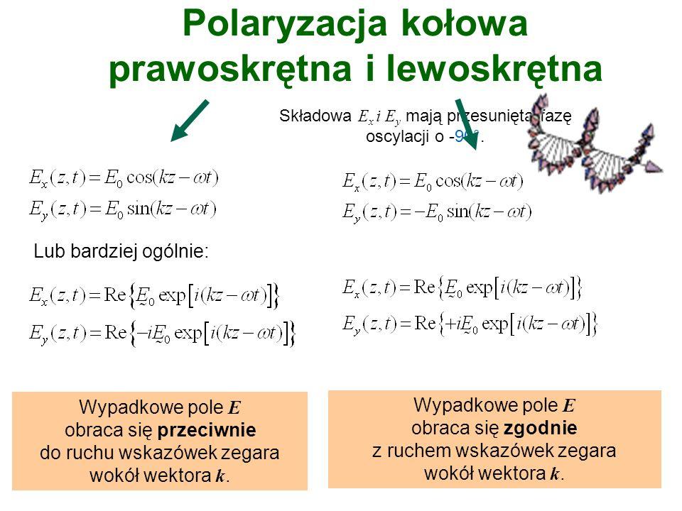 Superpozycja 2 fal płaskich, (te same częstotliwości i kierunki propagacji): polaryzacja liniowa lub polaryzacja kołowapolaryzacja eliptyczna Rodzaje polaryzacji fali elektromagnetycznej